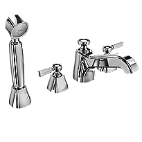 Guinevere® Deck-Mount Bath Faucet, with Lever Handles,Hand Shower and Diverter Trim