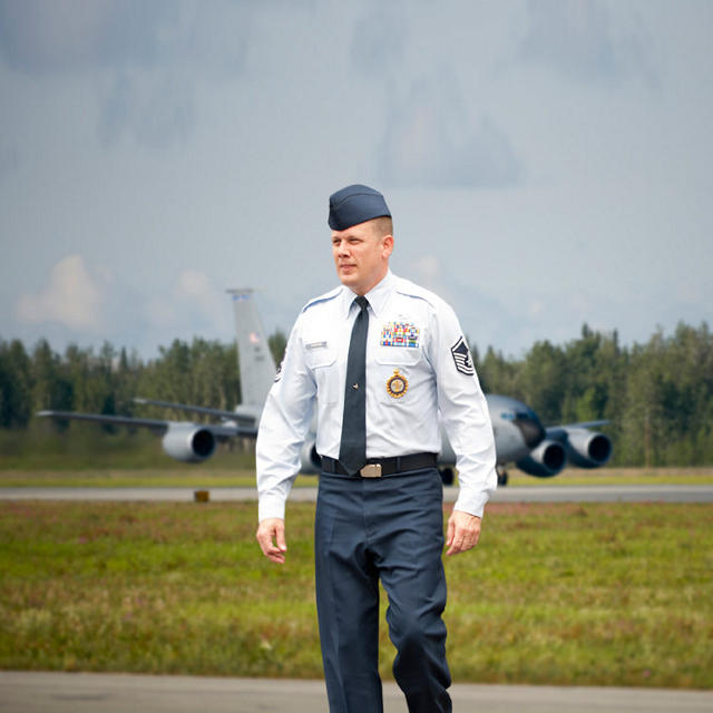 Image of air force reserve in front of plane