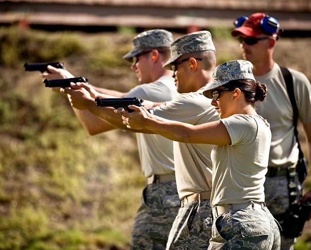 Airmen at shooting range