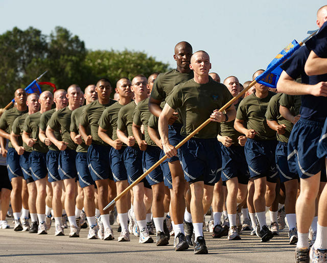 Trainees marching