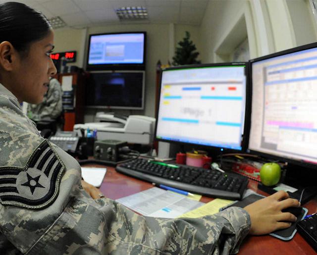 Airman at computer