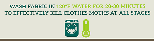 get rid of clothes moths by washing fabric in 120 degrees F water